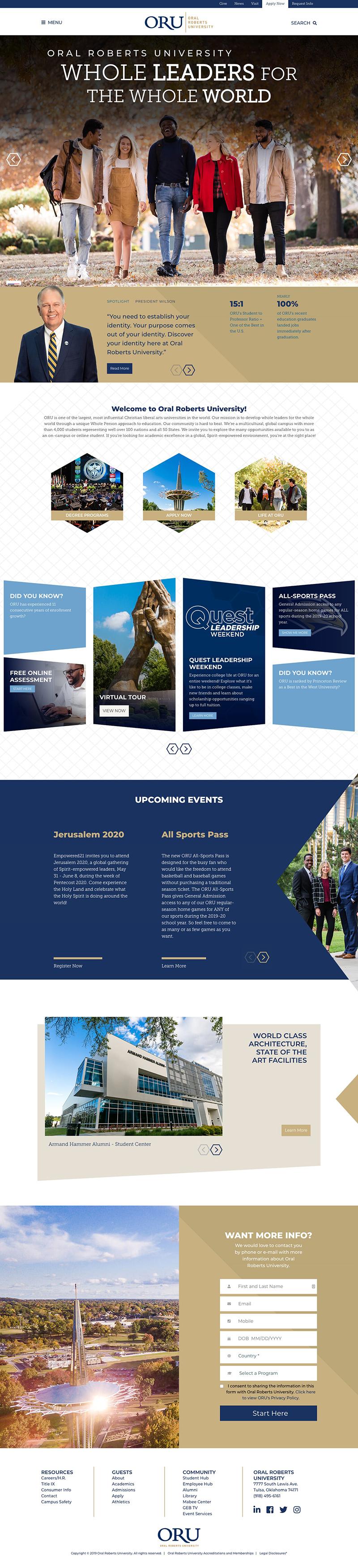 Oral Roberts University Homepage